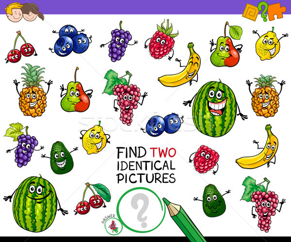find two identical fruits game for kids Stock photo © izakowski