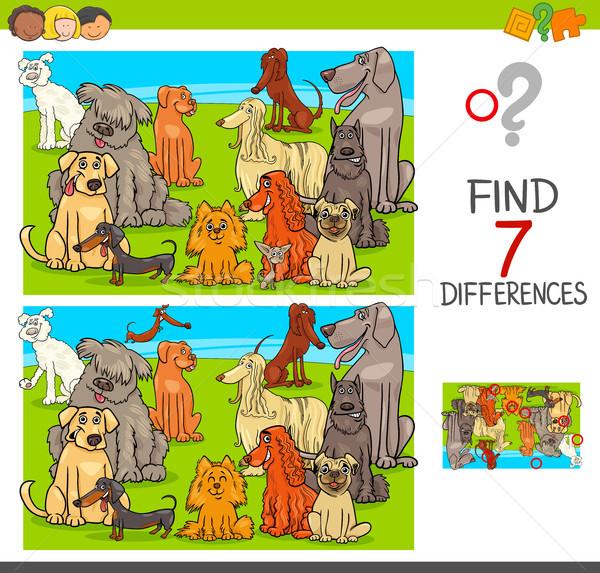 Encontrar diferenças jogo cães animal Foto stock © izakowski