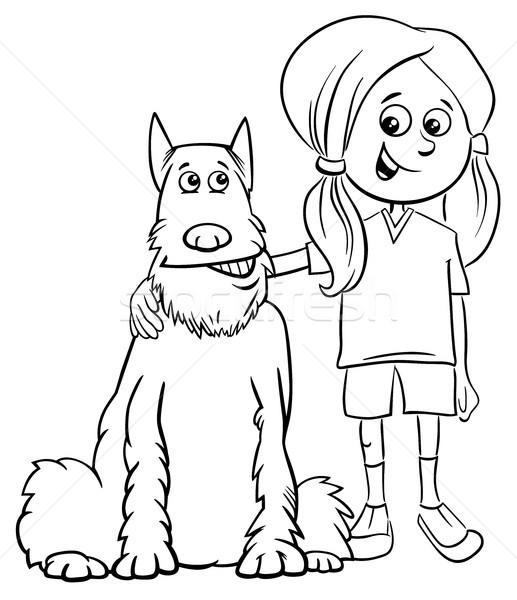 çocuk Kız Köpek Karikatür Boyama Kitabı Siyah Beyaz