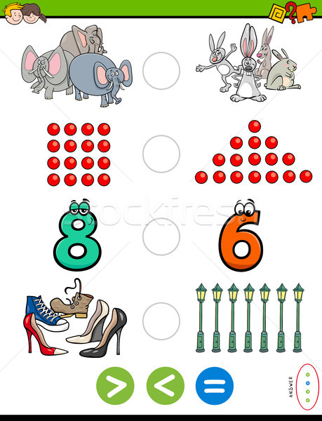 greater less or equal educational puzzle for kids Stock photo © izakowski