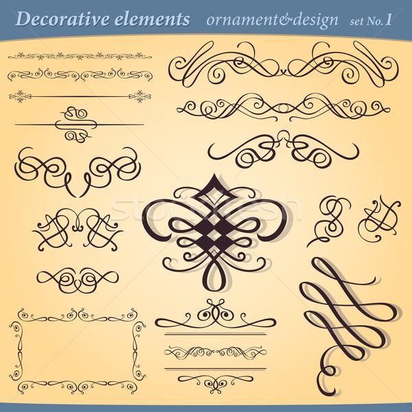 Set of decorative ornament elements Stock photo © izakowski
