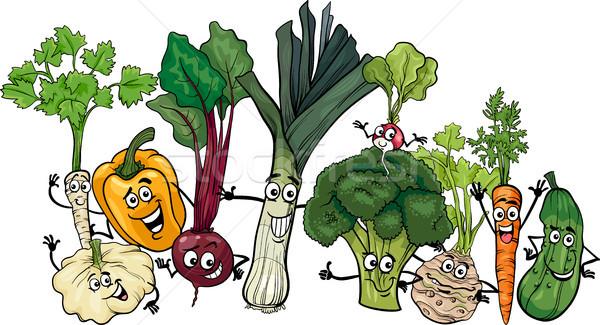 Funny hortalizas grupo Cartoon ilustración alimentos Foto stock © izakowski