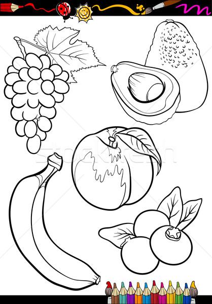 Karikatür Meyve Ayarlamak Boyama Kitabı Sayfa örnek
