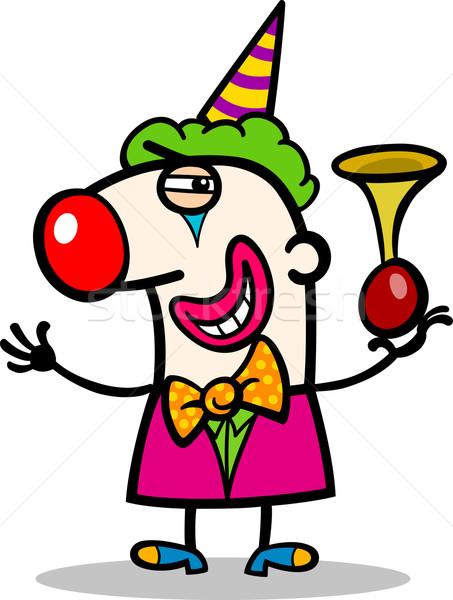 Stockfoto: Clown · cartoon · illustratie · grappig · hoorn