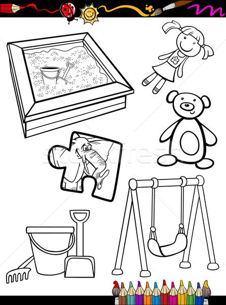 Desen Animat Jucării Obiecte Carte De Colorat