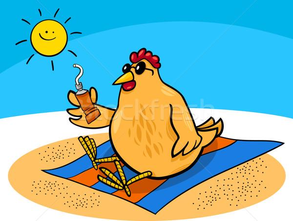 Frango praia desenho animado ilustração galinha bronzeado Foto stock © izakowski