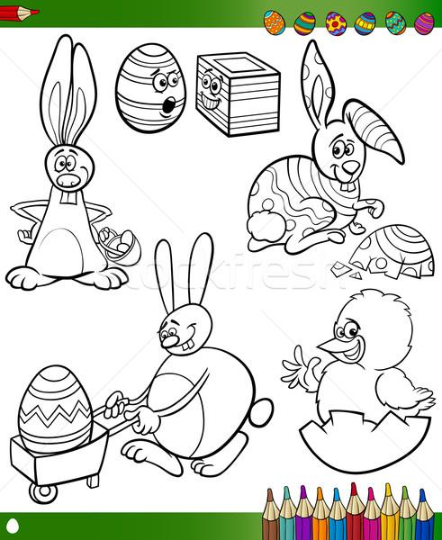 easter cartoons for coloring book Stock photo © izakowski