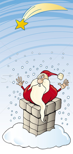 Stock photo: Santa Claus stuck in chimney