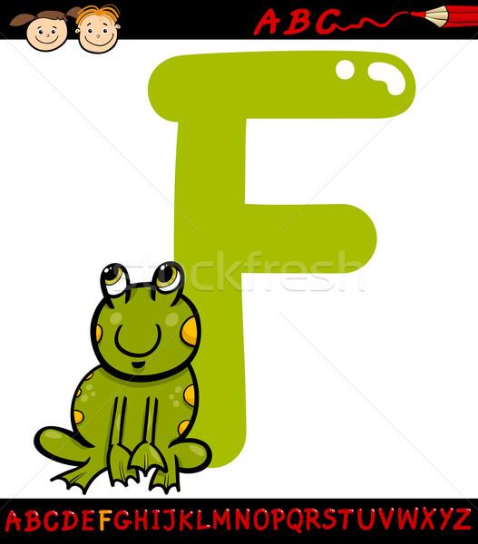 letter f for frog cartoon illustration Stock photo © izakowski