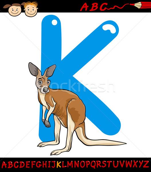 Brief kangoeroe cartoon illustratie hoofdletter alfabet Stockfoto © izakowski
