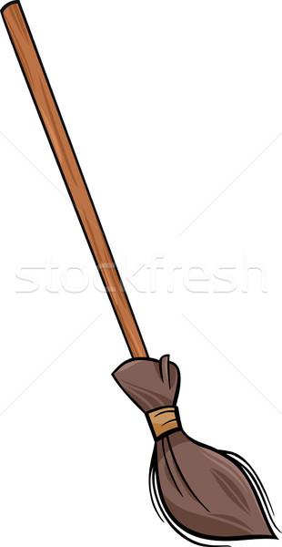 Escoba clip art Cartoon ilustración retro limpieza Foto stock © izakowski