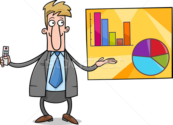 businessman presentation cartoon illustration Stock photo © izakowski