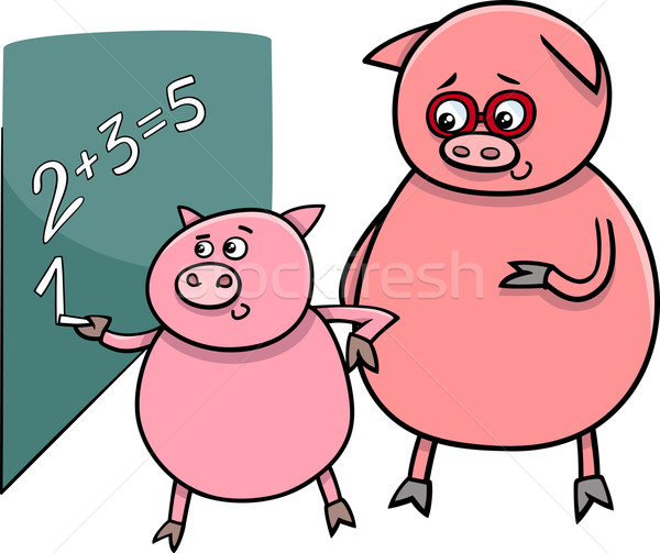 piglet at match cartoon illustration Stock photo © izakowski