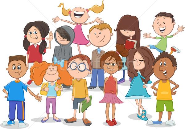 ストックフォト: 子供 · 代 · グループ · 漫画 · 実例 · 小学校