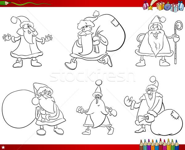 Noel Baba Ayarlamak Boyama Kitabı Karikatür örnek