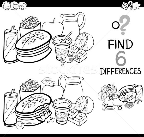 Farklılıklar gıda sayfa siyah beyaz karikatür örnek Stok fotoğraf © izakowski