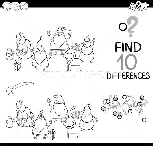 Noel Baba Oyun Sayfa Siyah Beyaz Karikatür örnek