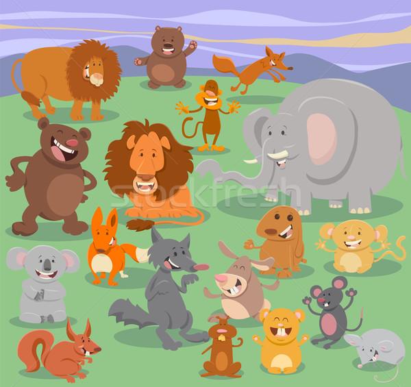Wildes Tier Zeichen Gruppe Karikatur Illustration glücklich Stock foto © izakowski