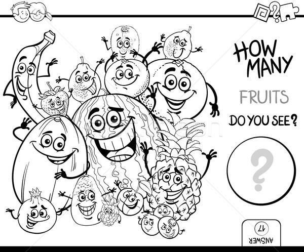 Meyve Boyama Kitabı Siyah Beyaz Karikatür örnek Vektör
