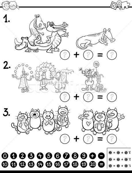 Algebra attività pagina bianco nero cartoon illustrazione Foto d'archivio © izakowski