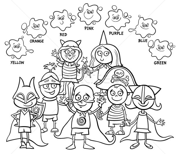 Básico cores livro para colorir preto e branco desenho animado Foto stock © izakowski
