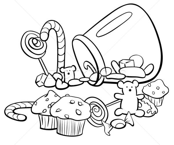 конфеты группа Cartoon книжка-раскраска черно белые иллюстрация Сток-фото © izakowski