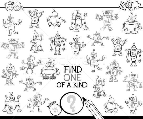 find one of a kind with robots color book Stock photo © izakowski