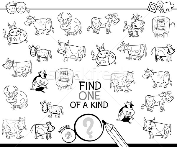 one of a kind game with cows color book Stock photo © izakowski