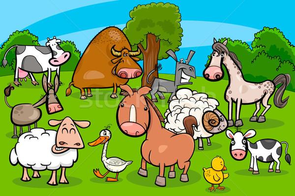 cartoon farm animal characters group Stock photo © izakowski