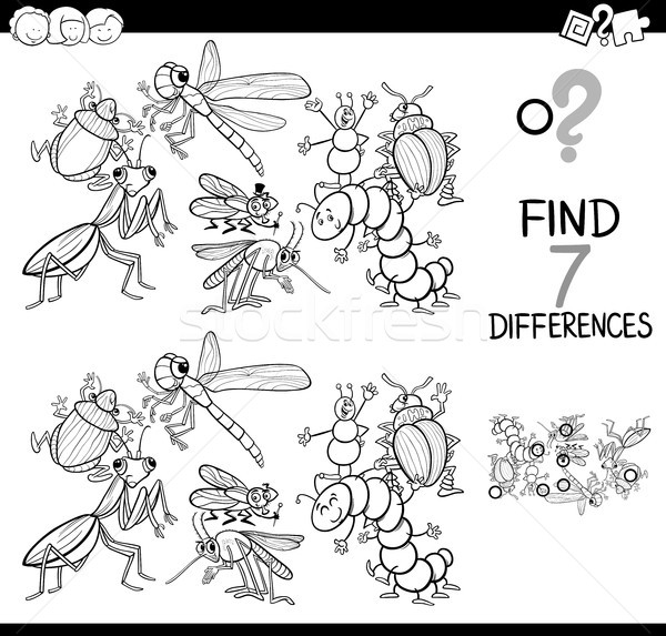 differences game with insects coloring book Stock photo © izakowski