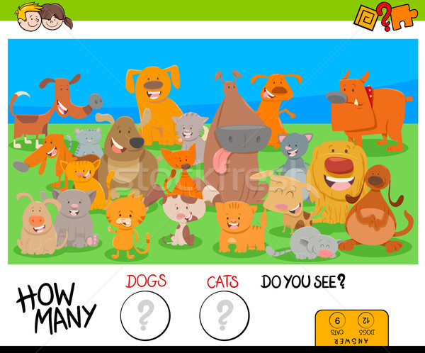 counting dogs and cats educational game for kids Stock photo © izakowski
