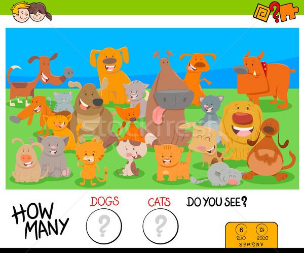 Kutyák macskák oktatási játék gyerekek rajz Stock fotó © izakowski