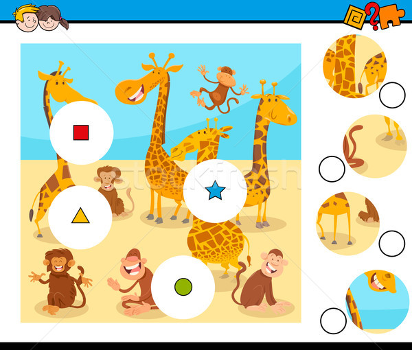 match pieces puzzle with monkeys and giraffes Stock photo © izakowski