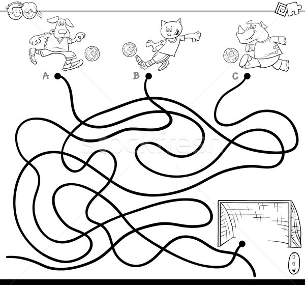 Labyrinthe football animaux livre de coloriage blanc noir cartoon Photo stock © izakowski