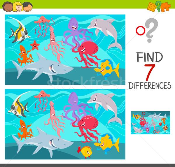 находить различия игры морских животных Cartoon иллюстрация Сток-фото © izakowski