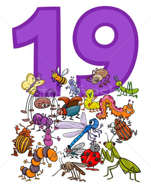 Zahl neunzehn Karikatur Insekten Gruppe Illustration Stock foto © izakowski