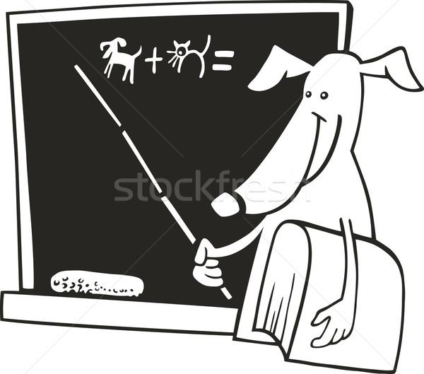 Stock fotó: Kutya · tanár · kifestőkönyv · illusztráció · fekete · vicces