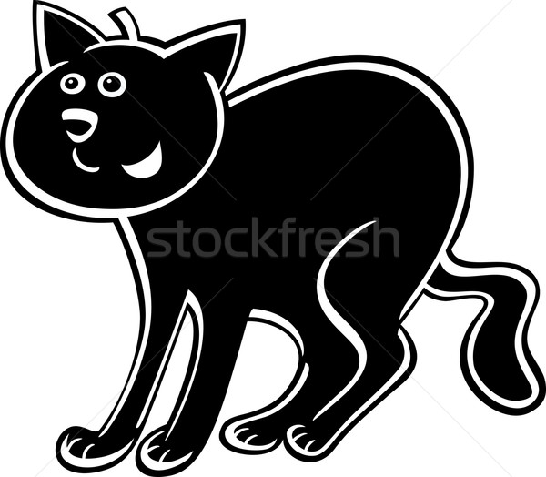 cartoon black cat Stock photo © izakowski