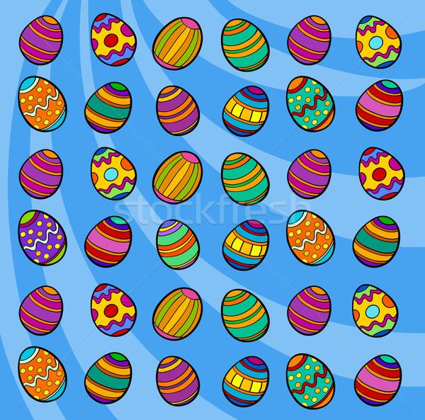 Ovos De Pascoa Desenho Animado Ilustracao Colorido
