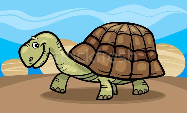 funny turtle cartoon illustration Stock photo © izakowski