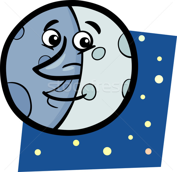 funny moon cartoon illustration Stock photo © izakowski