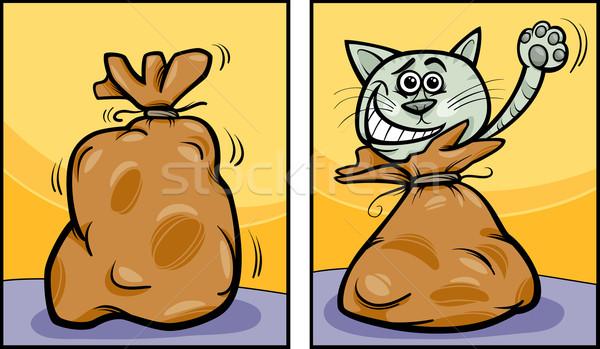 let the cat out of the bag cartoon Stock photo © izakowski