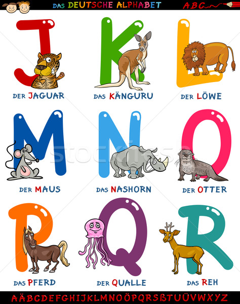 cartoon german alphabet with animals Stock photo © izakowski