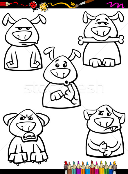 dog emotion set cartoon coloring page Stock photo © izakowski