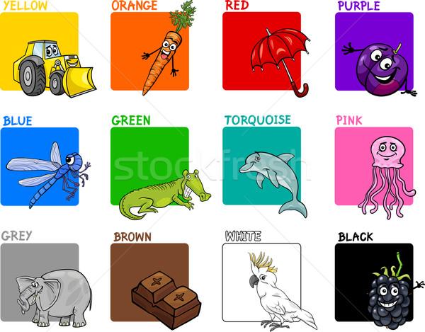 Primário cores desenho animado conjunto ilustração animais Foto stock © izakowski
