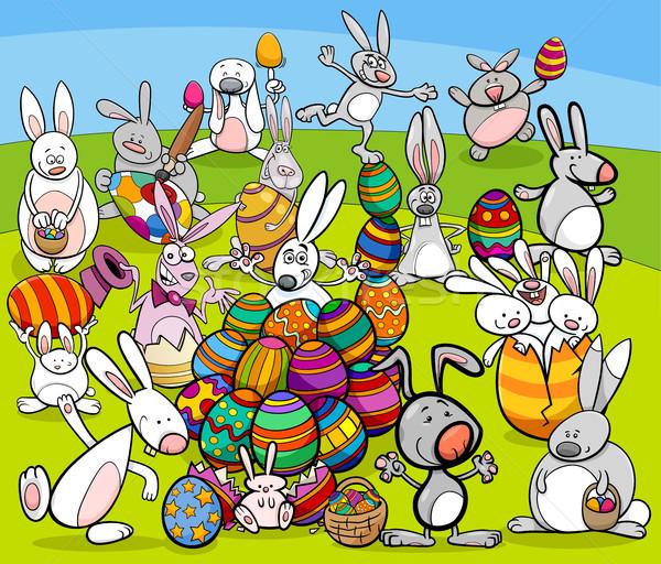 easter bunny big group cartoon Stock photo © izakowski