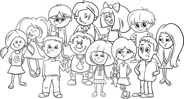 school kids coloring page Stock photo © izakowski