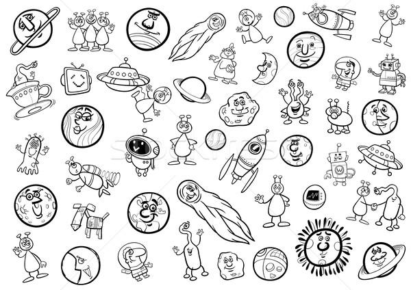 space cartoon set coloring page Stock photo © izakowski