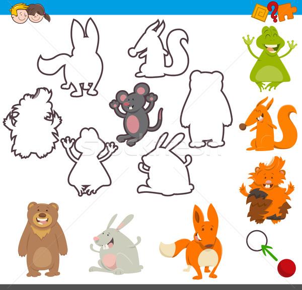 Educativo actividad animales Cartoon ilustración juego Foto stock © izakowski