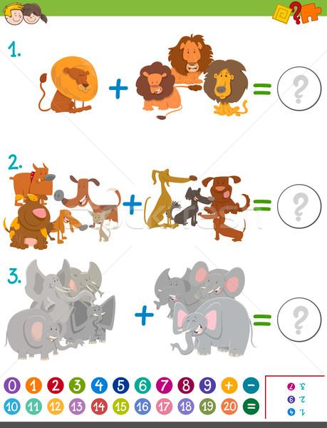 addition maths activity for kids Stock photo © izakowski
